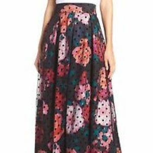 NWT Eliza J Floral Swiss Dots Tulle Ball Skirt